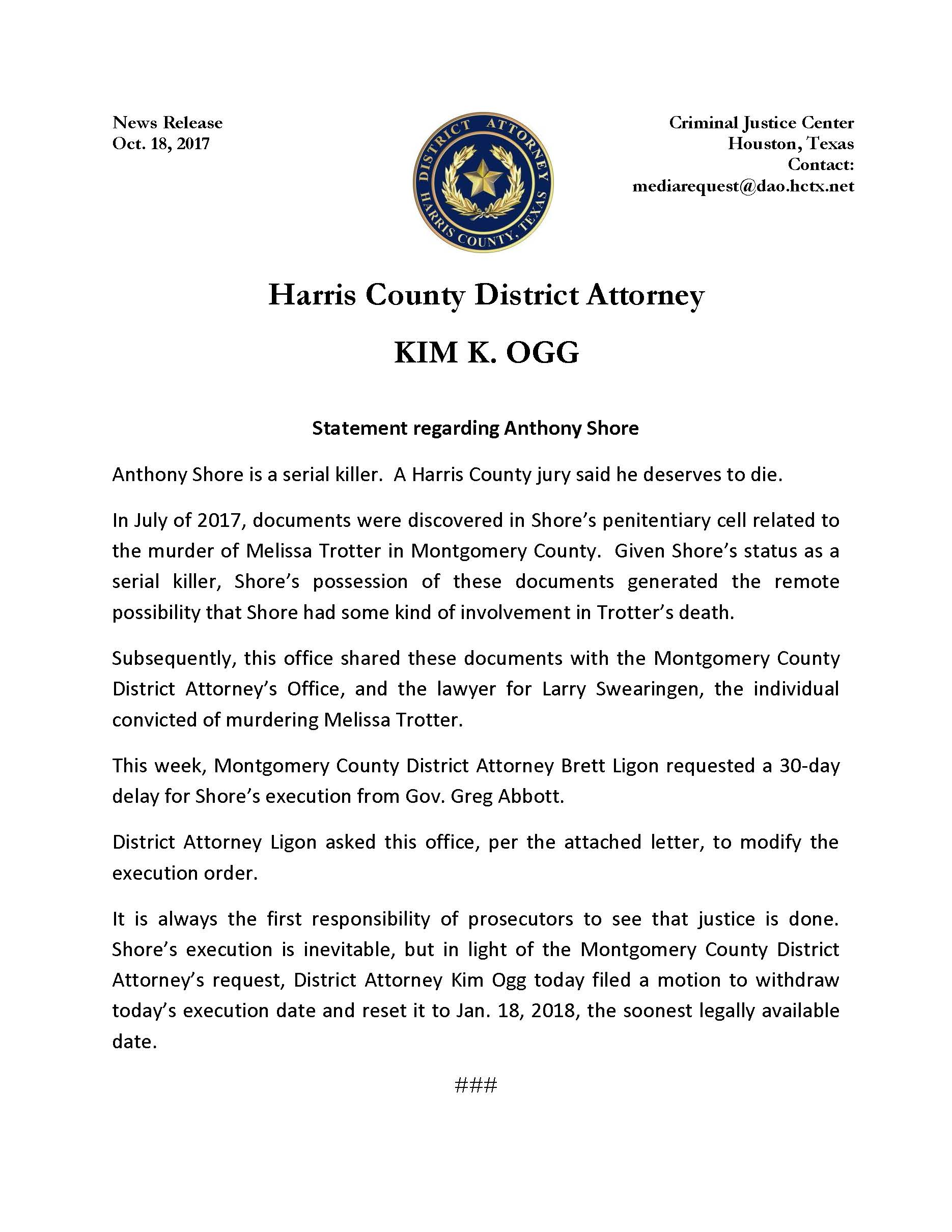 statement from DA Ogg regarding Death Row Inmate Anthony Shore